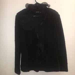 Black Blazer with Organza Collar